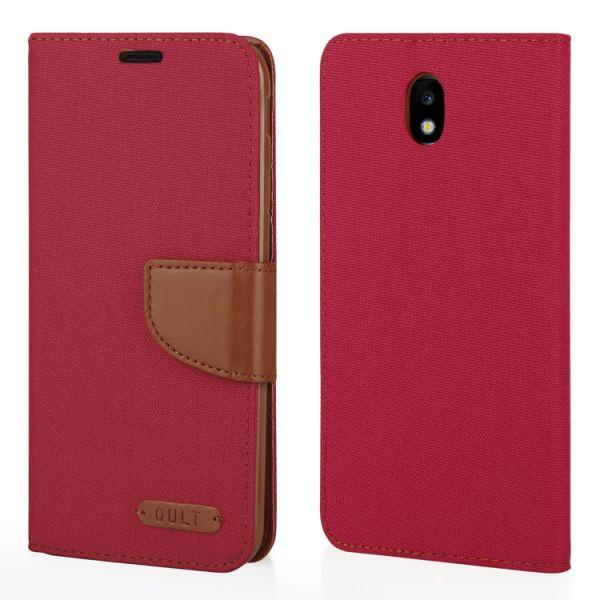 "Klapp Etui ""Fancy"" Canvas für Samsung Galaxy J7 (2017) rot"